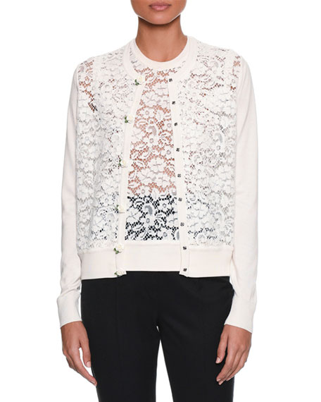 Long-Sleeve Button-Front Rose Lace Front Knit Cardigan