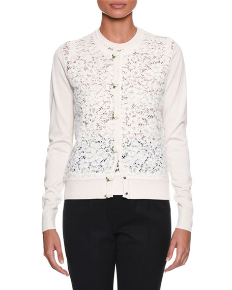 Dolce & Gabbana Long-Sleeve Button-Front Rose Lace Front