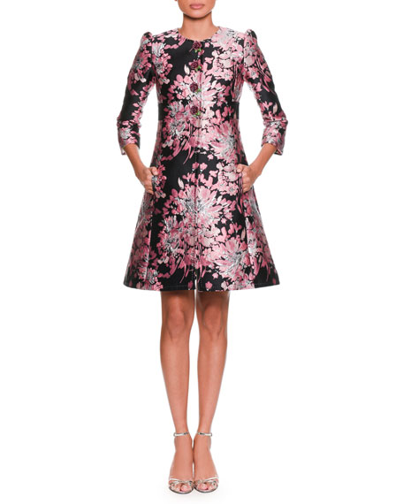 Dolce & Gabbana Long-Sleeve Button-Down Rose-Jacquard Coat w/