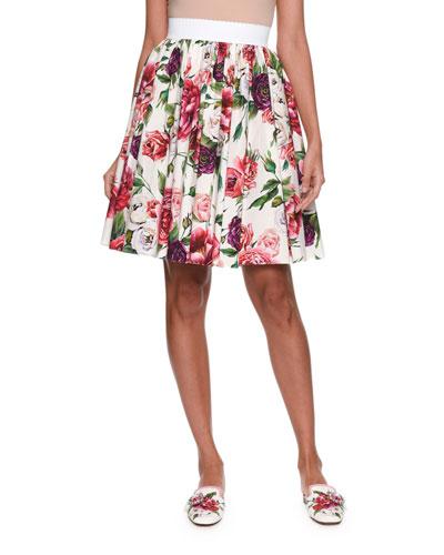 Elastic-Waist Rose Peony Print Cotton Poplin Skirt