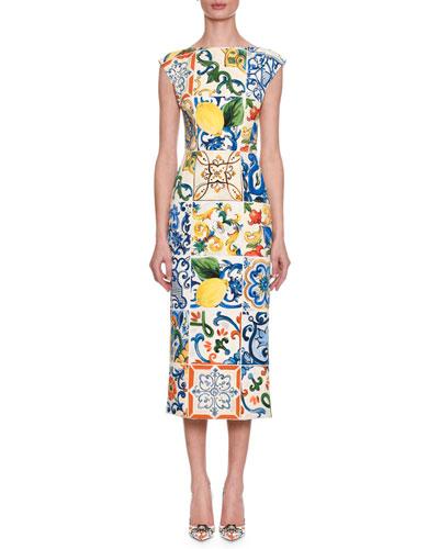 Cap-Sleeve Lemon Tile-Print Silk Charmeuse Sheath Midi Dress