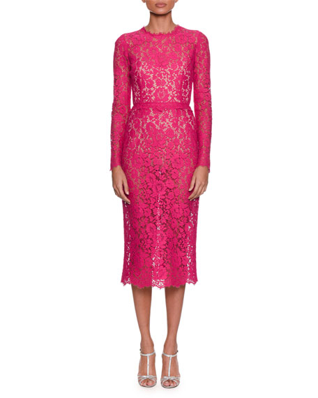 DOLCE & GABBANA Long-Sleeve Jewel-Neck Fitted Lace Midi Dress, Fuchsia