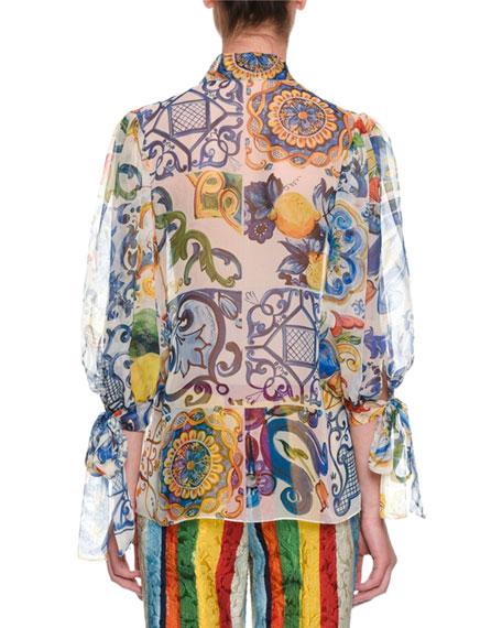 Tie-Neck Maiolica-Print Sheer Chiffon Blouse