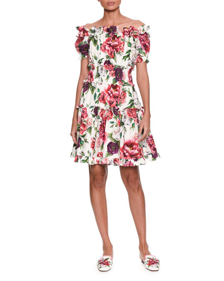 Off-the-Shoulder Short-Sleeve Rose & Peony-Print Cotton Poplin Dress