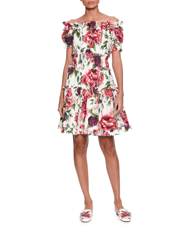 3222939833d Dolce   Gabbana Off-the-Shoulder Short-Sleeve Rose   Peony-Print ...