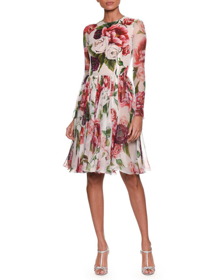 Long-Sleeve Rose & Peony Print Fit-and-Flare Chiffon Dress