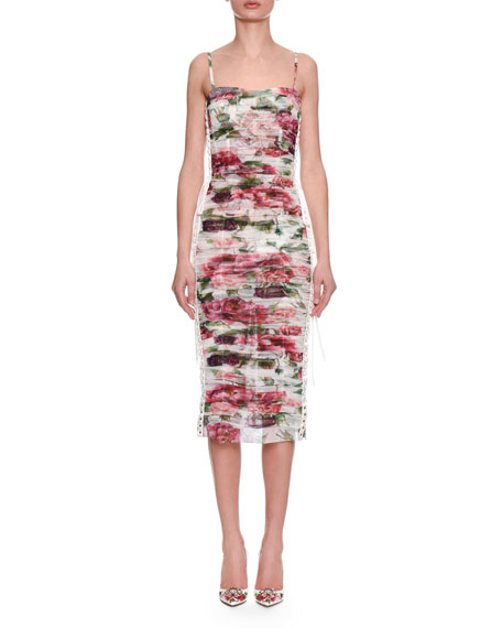 Sleeveless Thin-Strap Rose & Peony Print Ruched Chiffon Dress