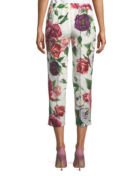 Kate Rose & Peony Brocade Cropped Straight-Leg Pants