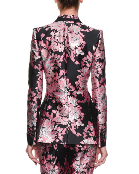 Two-Button Rose-Jacquard Jacket