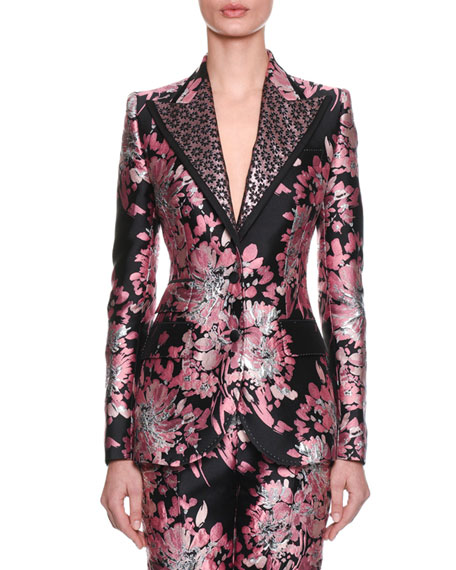 Dolce & Gabbana Two-Button Rose-Jacquard Jacket and Matching