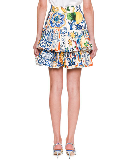 Maiolica-Print Tiered Cotton-Poplin Skirt