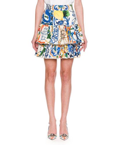 Maiolica-Print Tiered Cotton-Poplin Skirt