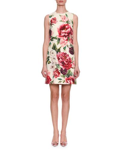 Sleeveless Rose & Peony Print Wool-Crepe Shift Dress