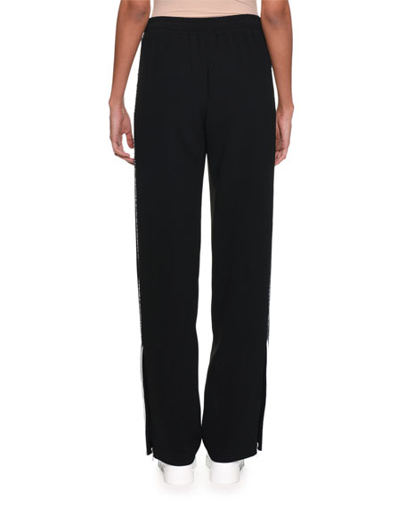 Drawstring-Waist Wide-Leg Cotton Pants w/ Logo Band