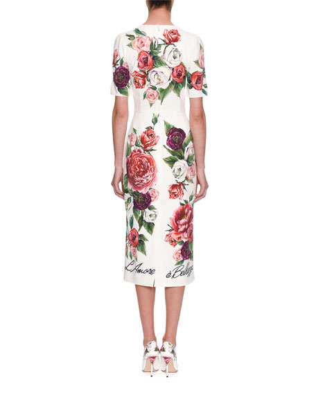 Half-Sleeve Rose & Peony Print L'Amore E' Bellisima Mid-Calf Dress