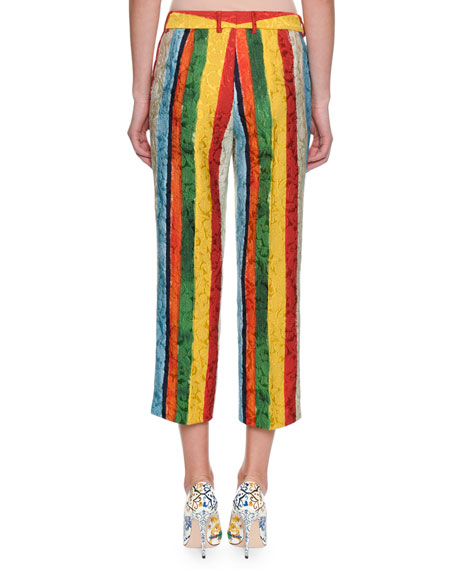 Rainbow Stripe Jacquard Cropped Pants