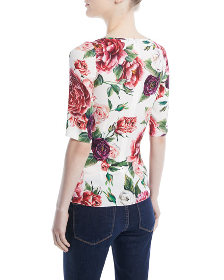 Elbow-Sleeve Rose Peony-Print Fitted Charmeuse Blouse
