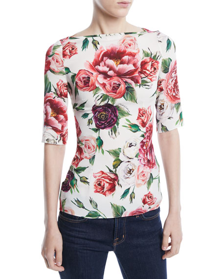 Dolce & Gabbana Elbow-Sleeve Rose Peony-Print Fitted Charmeuse