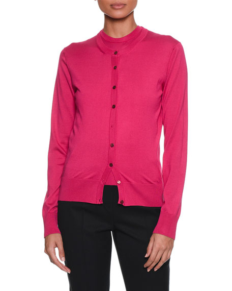 Long-Sleeve Button-Front Silk-Knit Cardigan
