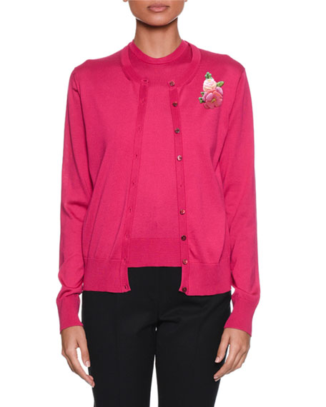 Dolce & Gabbana Long-Sleeve Button-Front Silk-Knit Cardigan and