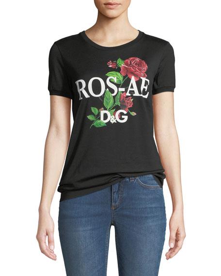 Rosale D&G Rose-Print Cotton Jersey T-Shirt