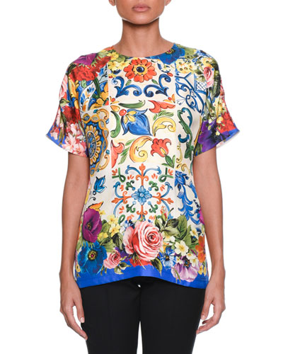 Maiolica-Print Crewneck Short-Sleeve Silk Top