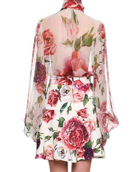 Tie-Neck Long-Sleeve Rose & Peony-Print Silk Chiffon Blouse