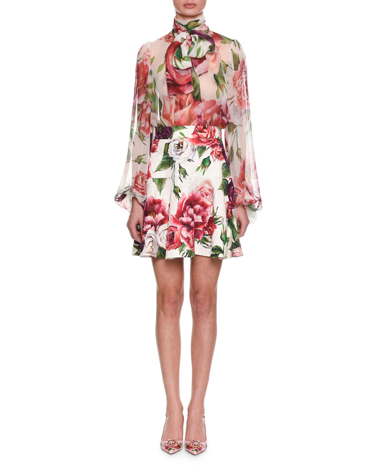 e6ace184a9b6a2 Dolce   GabbanaTie-Neck Long-Sleeve Rose   Peony-Print Silk Chiffon Blouse