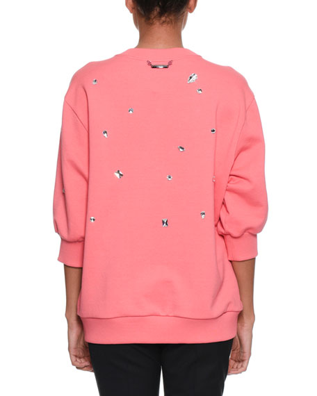 Three-Quarter Sleeve Crystal-Embellished Oversized Sweatshirt