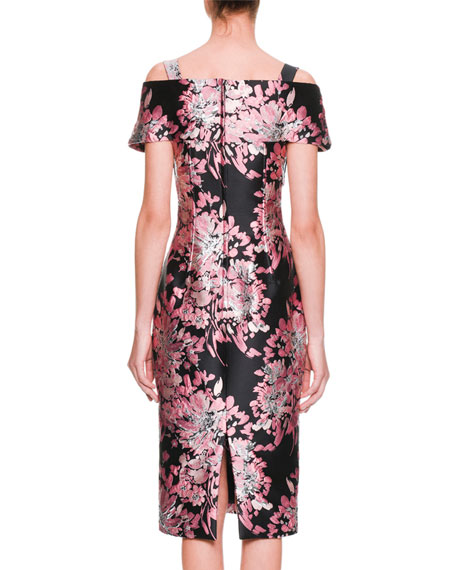 Cap-Sleeve Rose-Jacquard Mid-Calf Cocktail Dress