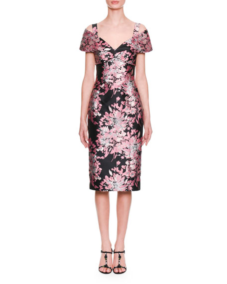 Dolce & Gabbana Cap-Sleeve Rose-Jacquard Mid-Calf Cocktail Dress
