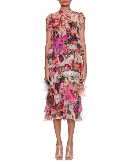 Tie-Neck Rose & Peony Print Tiered Chiffon Mid-Calf Dress