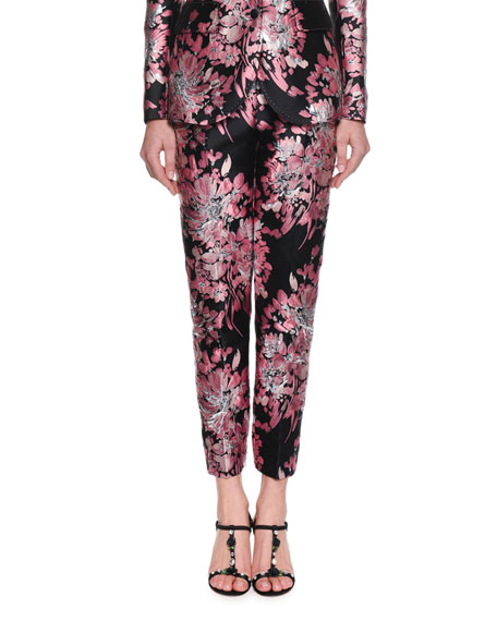 Dolce & Gabbana Kate Rose-Jacquard Straight-Leg Pants