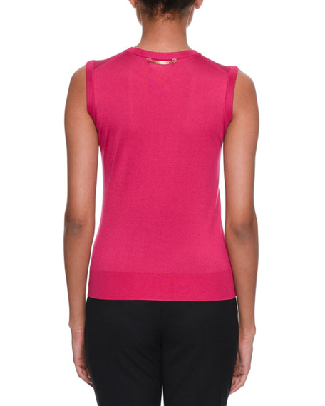 Crewneck Sleeveless Silk-Knit Shell Top