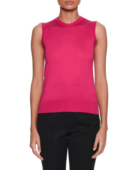 Dolce & Gabbana Crewneck Sleeveless Silk-Knit Shell Top