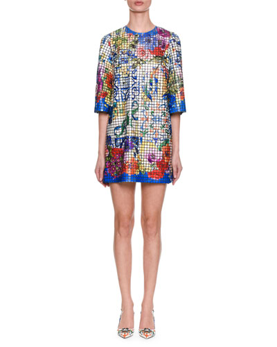 Short-Sleeve Maiolica-Tile On Tulle Oversize Tunic Dress