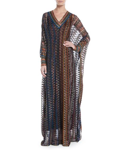 Missoni V-Neck Long-Sleeve 3-D Metallic Zigzag Long Kaftan