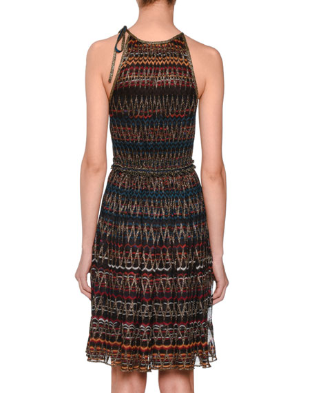 3-D Zigzag Sleeveless Halter Metallic Knit Dress