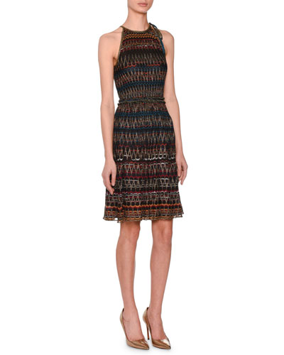 3-D Zigzag Sleeveless Halter Metallic Knit Dress