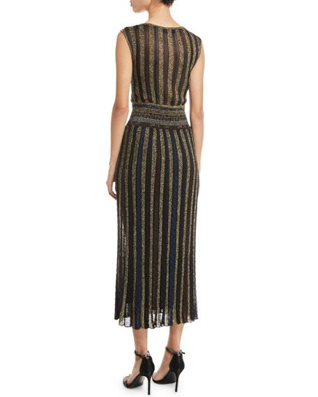V-Neck Cap-Sleeve Metallic Striped Wrap Midi Dress