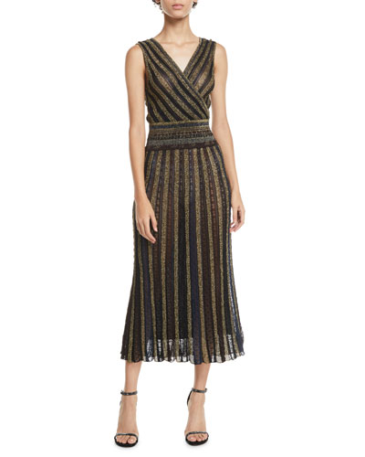 V-Neck Cap-Sleeve Metallic Striped Wrap Midi Dress