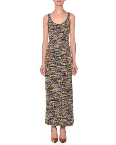 Sleeveless Scoop-Neck Space-Dye Long Dress