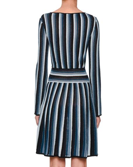Long-Sleeve Metallic Stripe Wrap Mini Dress