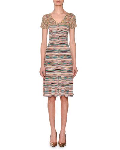 V-Neck Short-Sleeve Striped Space-dye Dress