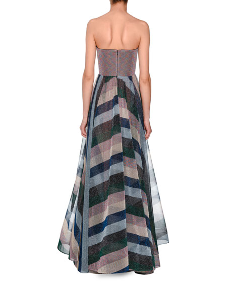 Strapless Bustier Metallic-Striped Evening Gown