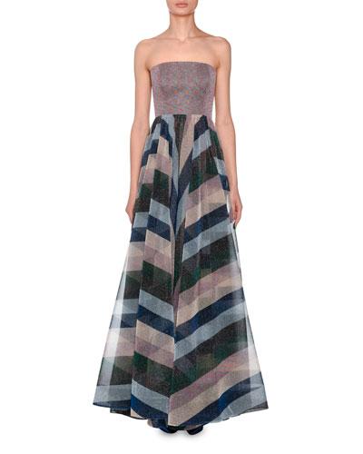 Strapless Bustier Metallic-Striped Evening Gown