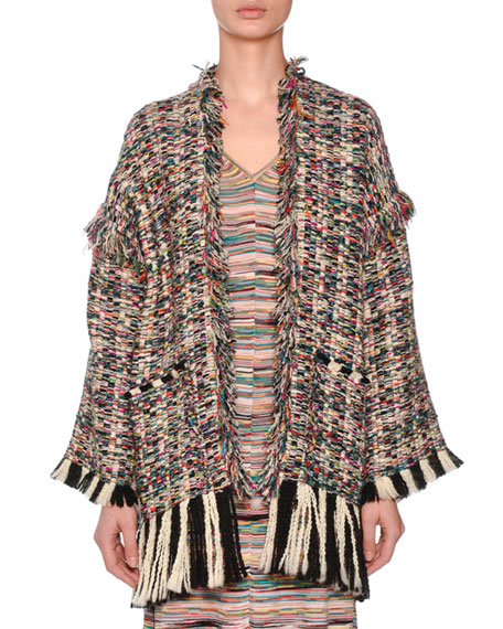 Oversized Multicolor Boucle Oversized Cardigan w/ Fray