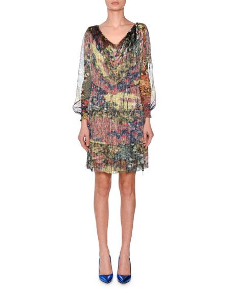 V-Neck Long-Sleeve Floral-Print Chiffon Dress w/ Allover Fringe