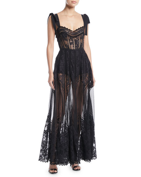 Sweetheart-Neck Tie-Shoulder Lace and Tulle Dress with Macrame Trim