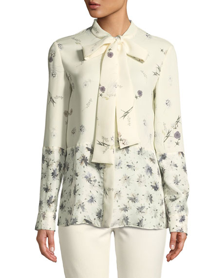 Derek Lam Mixed Floral Tie-Neck Silk Blouse